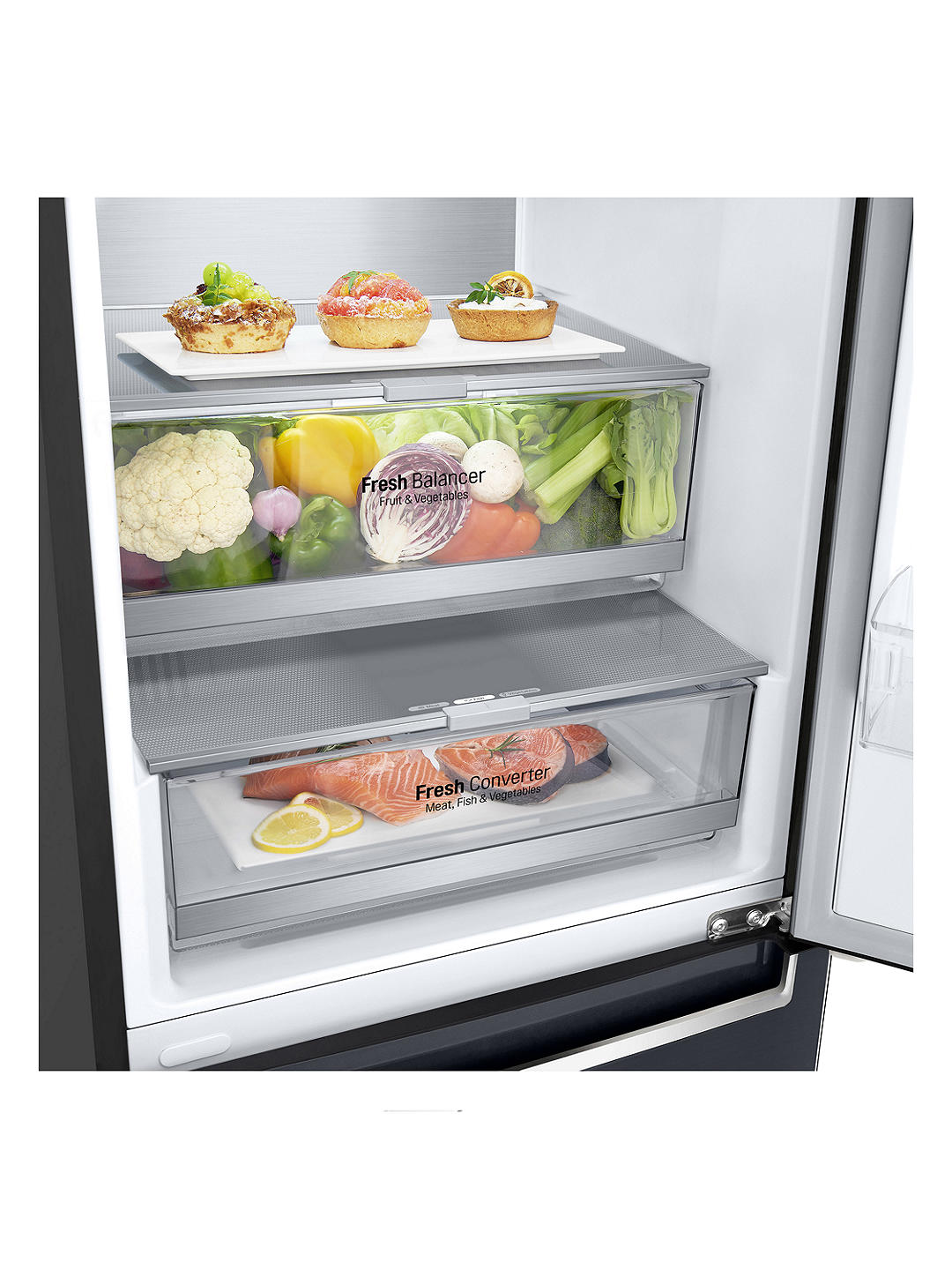 Buy LG GBB72MCUFN Freestanding 60/40 Fridge Freezer, 60cm Wide, Matte Black Online at johnlewis.com
