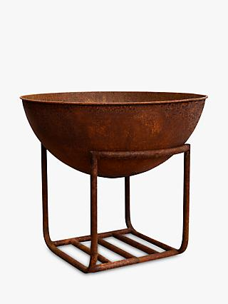 Ivyline Cast Iron Firepit Bowl & Stand, Copper