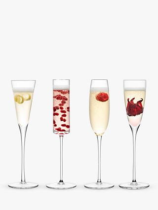 LSA International Lulu Assorted Champagne Flutes, Set of 4, 175ml, Clear