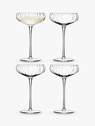 LSA International Aurelia Optic Champagne Saucers, Set of 4, 300ml, Clear