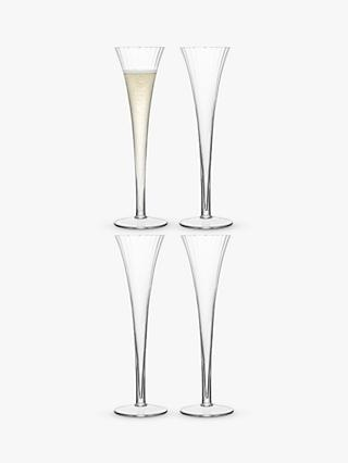 LSA International Aurelia Optic Champagne Flutes, Set of 4, 200ml, Clear