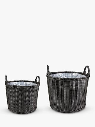 Ivyline Woven Rattan Outdoor Basket Planters, Set of 2