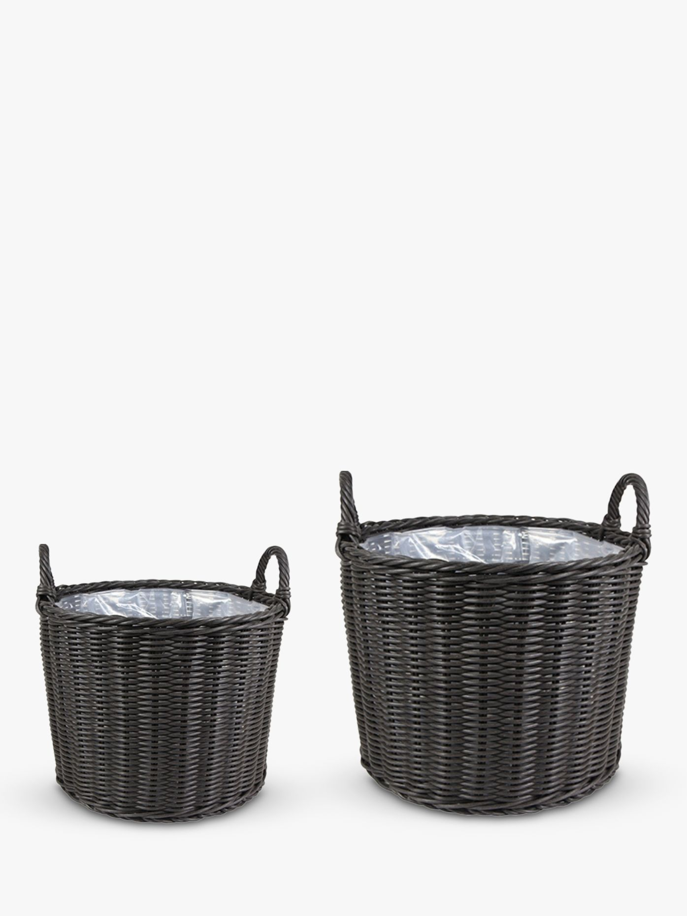 Ivyline Woven Rattan Outdoor Basket Planters, Set of 2