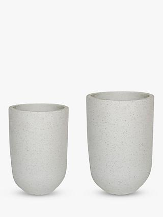 Ivyline Catania Tall Outdoor Terrazzo Cement Vases, Set of 2