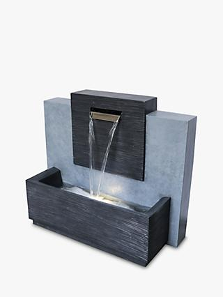 Ivyline Contemporary Garden Water Feature, Silver