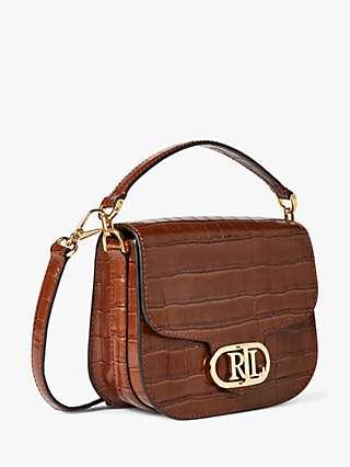 Lauren Ralph Lauren Addie Croc Print Leather Cross Body Bag, Deep Saddle