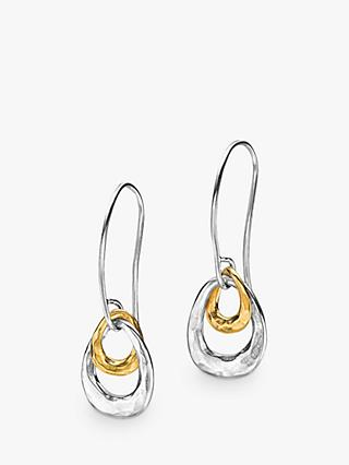 Dower & Hall Sterling Silver Gold Vermeil Entwined Open Double Oval Drop Earrings, Silver/Gold