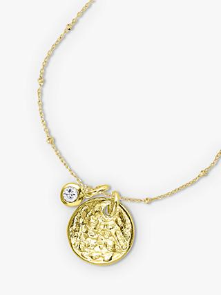 Dower & Hall Textured Round Charm and Sapphire Twinkle Pendant Necklace