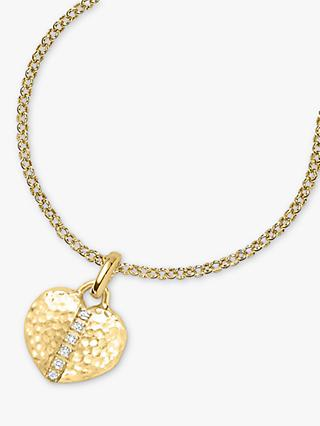 Dower & Hall Yellow Gold Vermeil White Sapphire Heart Lumiere Locket, Gold