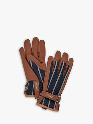 Sophie Conran for Burgon & Ball Leather Trim Striped Gardening Gloves, Brown/Blue
