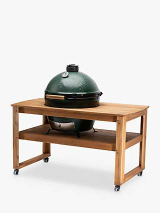 Big Green Egg Extra Large BBQ and Acacia Wood Table Bundle with ConvEGGtor