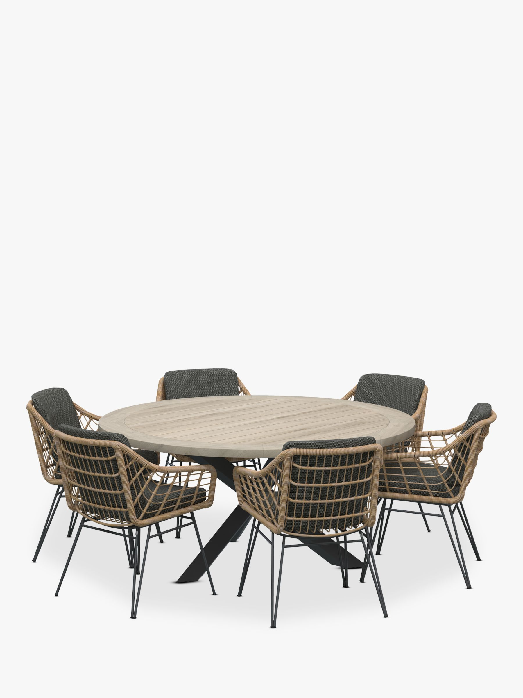 4 Seasons Outdoor Cottage 6-Seater Round Garden Dining Table & Chairs Set, FSC-Certified (Teak Wood), Natural