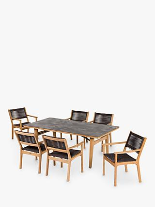 Barlow Tyrie Monterey 6-Seater Teak Wood Garden Dining Table & Chairs Set, Natural/Chalk