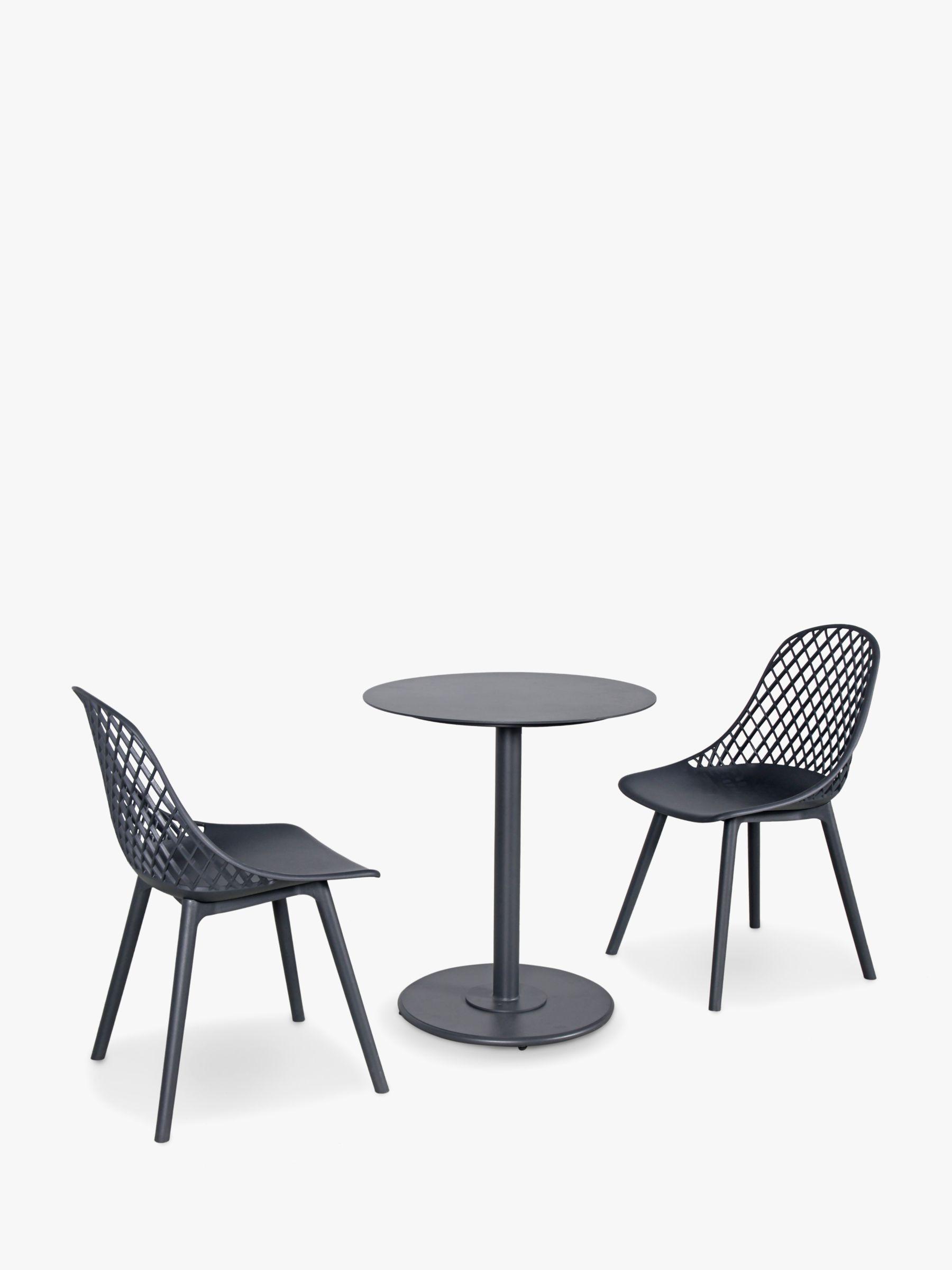 KETTLER Café Milano 2-Seater Garden Bistro Table & Chairs Set, Grey