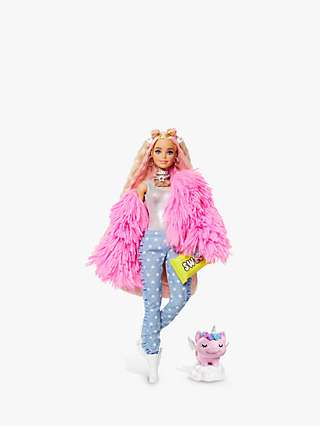Barbie Extra Fluffy Pink Jacket Doll