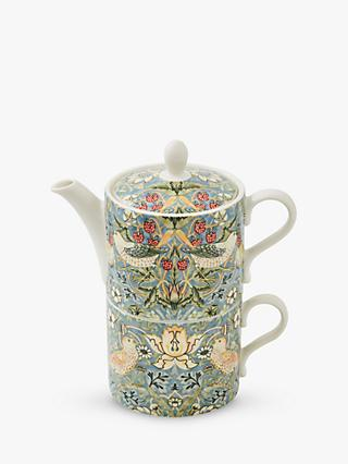 Morris & Co. Spode Strawberry Thief Tea-For-One Teapot, 280ml, Blue/Multi