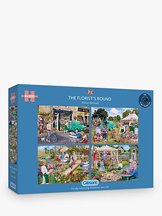Gibsons The Florist's Round 500 Piece Jigsaw Puzzles, Set of 4