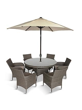 LG Outdoor Monaco 6-Seat Round Garden Dining Table & Armchairs Set with Parasol, Oak