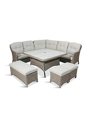 LG Outdoor Bergen 8-Seat Modular Garden Lounging Set, Natural/Sandy Grey