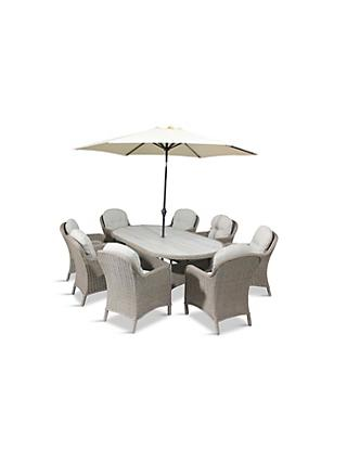 LG Outdoor Bergen 8-Seat Oval Garden Dining Table & Armchairs Set with Parasol, Natural/Sandy Grey