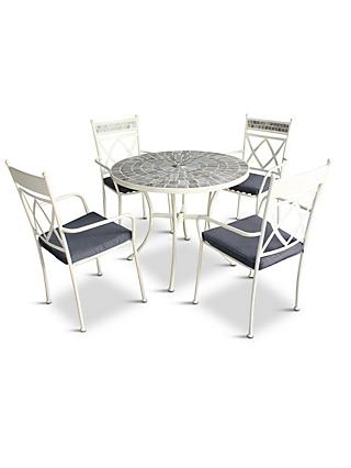LG Outdoor Cadiz 4-Seat Round Garden Dining Table & Chairs Set, Cream/Multi
