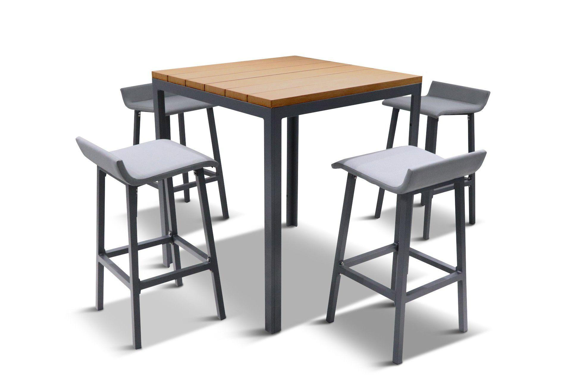 LG Outdoor Siena 4-Seat Wood-Effect High Garden Dining Table & Bar Stools Set, Grey