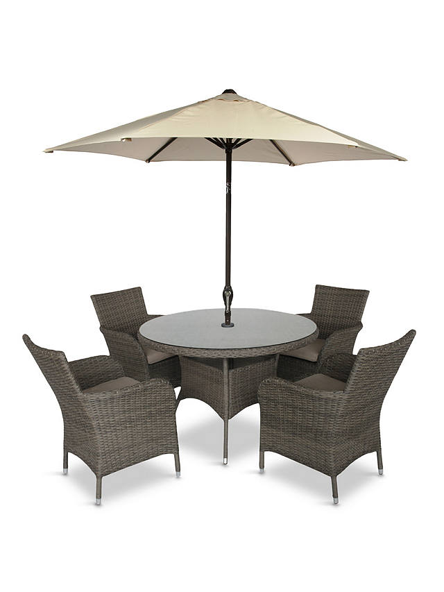 Buy LG Outdoor Monaco 4-Seat Round Garden Dining Table & Armchairs Set with Parasol, Oak Online at johnlewis.com