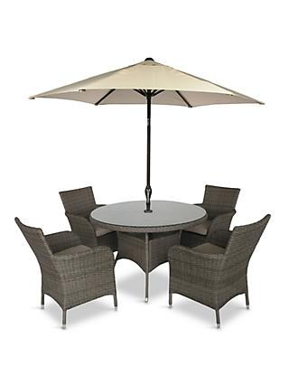 LG Outdoor Monaco 4-Seat Round Garden Dining Table & Armchairs Set with Parasol, Oak