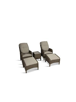 LG Outdoor Bergen 2-Seat Garden Side Table & Reclining Chairs with Footstools Set, Natural/Sandy Grey