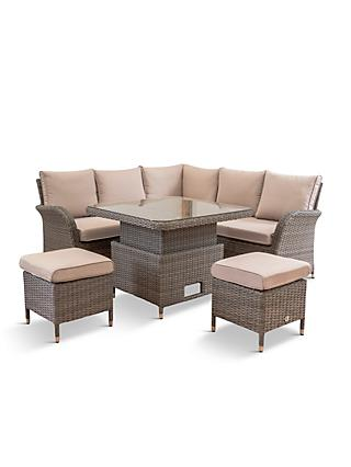LG Outdoor Monaco 7-Seat Modular Garden Lounging Set with High-Low Table, Oak