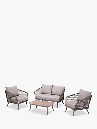 LG Outdoor Sarasota 4-Seat Garden Lounging Table & Armchairs Set, Grey