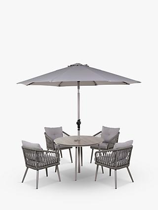 LG Outdoor Sarasota 4-Seat Round Garden Dining Table & Armchairs Set with Parasol, Grey