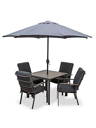 LG Outdoor Milano 4-Seat Wood-Effect Garden Dining Table & Armchairs with Parasol, Grey