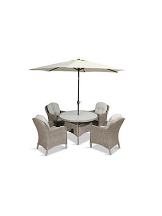 LG Outdoor Bergen 4-Seat Round Garden Dining Table & Armchairs Set with Parasol, Natural/Sandy Grey