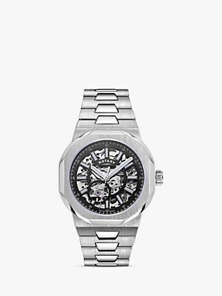 Rotary GB05415/04 Men's Regent Automatic Skeleton Date Bracelet Strap Watch, Silver