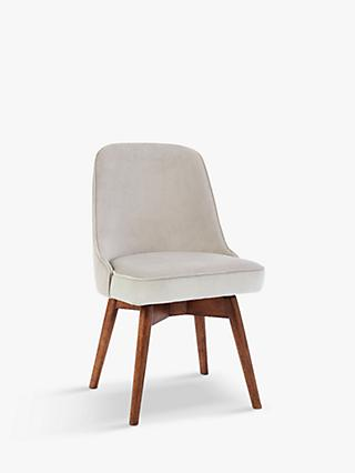 west elm Mid-Century Velvet Swivel Office Chair, Grey/Natural