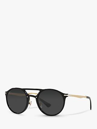 Persol PO3264S Unisex Phantos Polarised Sunglasses, Black/Gold