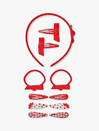 John Lewis & Partners Girls' Back to School Hair Accessories Bundle, Pack of 11, Red