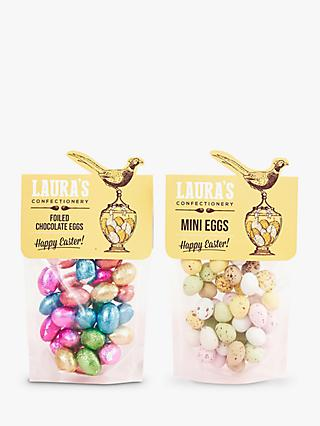 Laura's Confectionery Easter Pouch: Chocolate Mini Egg & Chocolate Foiled Eggs, 2x 144g