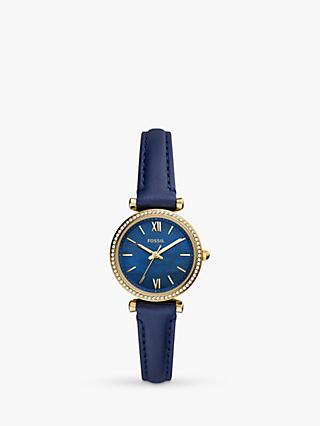Fossil ES5017 Women's Mini Carlie Leather Strap Watch, Blue