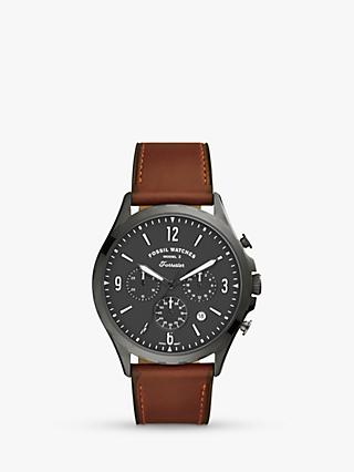 Fossil Men's FS5815 Forrester Chronograph Date Leather Strap Watch, Brown/Grey