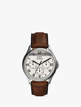 Fossil Men's FS5800 Architect Chronograph Date Leather Strap Watch, Brown/White