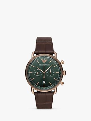 Emporio Armani AR11334 Men's Chronograph Date Leather Strap Watch, Brown/Green