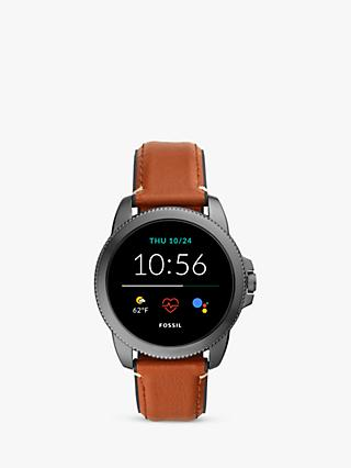 Fossil FTW4055 Men's Gen 5E Leather Strap Touchscreen Smartwatch, Brown/Multi