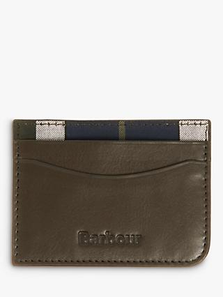 Barbour Leather Tartan Card Holder, Green
