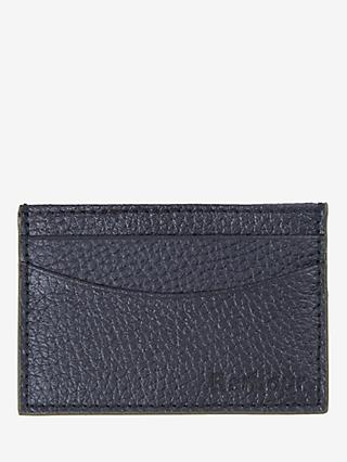 Barbour Leather Grain Card Holder, Black