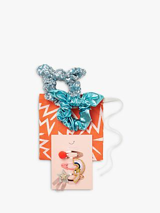 Stych Girls' Metallic Scrunchies and Hair Clips Set