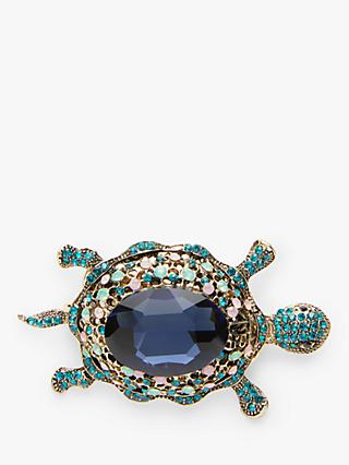One Button Diamante Turtle Brooch, Gold/Blue