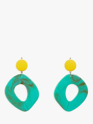 One Button Irregular Drop Earrings, Green/Yellow
