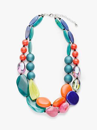 One Button Beaded Statement Layered Necklace, Multi